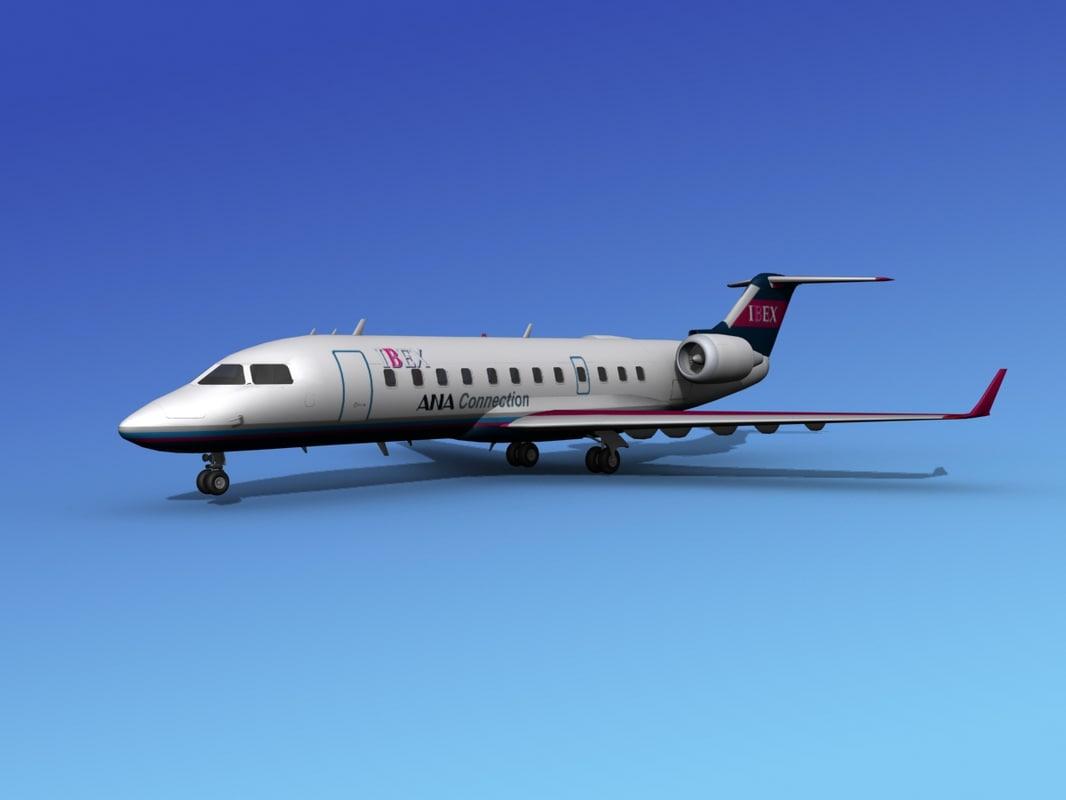 bombardier crj200 airliners canadair 3d model