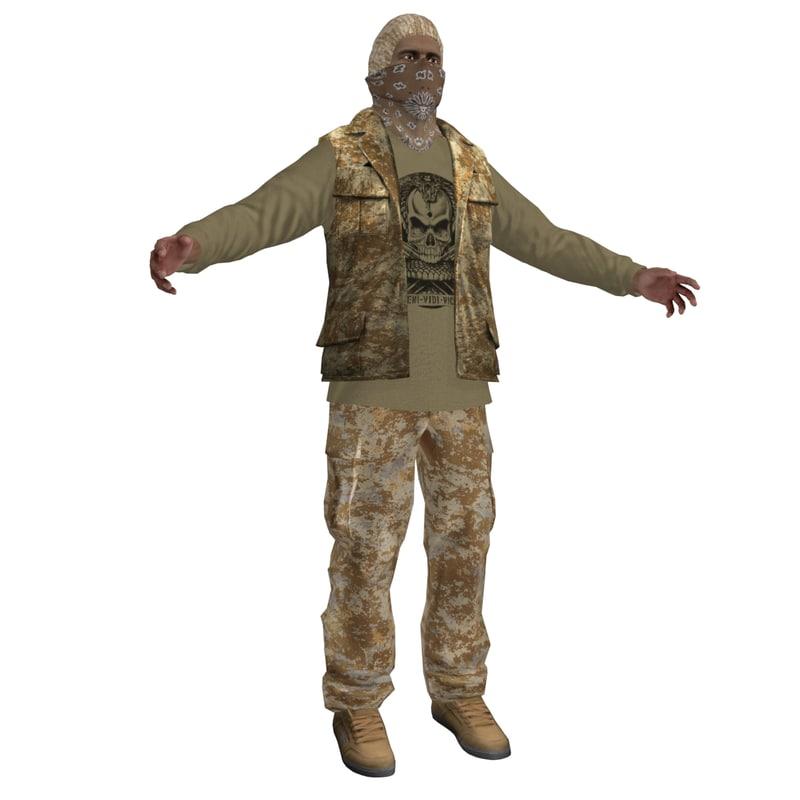 3d rebel guerrilla man 4 model