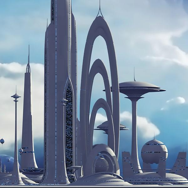 Futuristic sci fi buildings 3d max Concept buildings