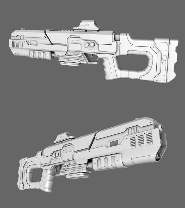 sci-fi rifle gun 3d model