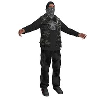 rebel guerrilla man 3d model
