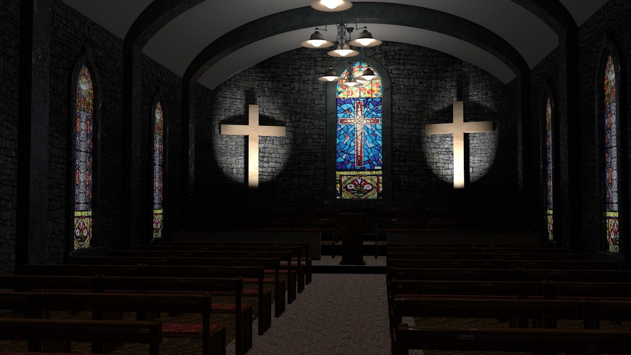 old style church stained glass 3d model