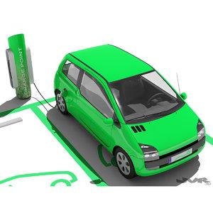generic electric car charging 3d max
