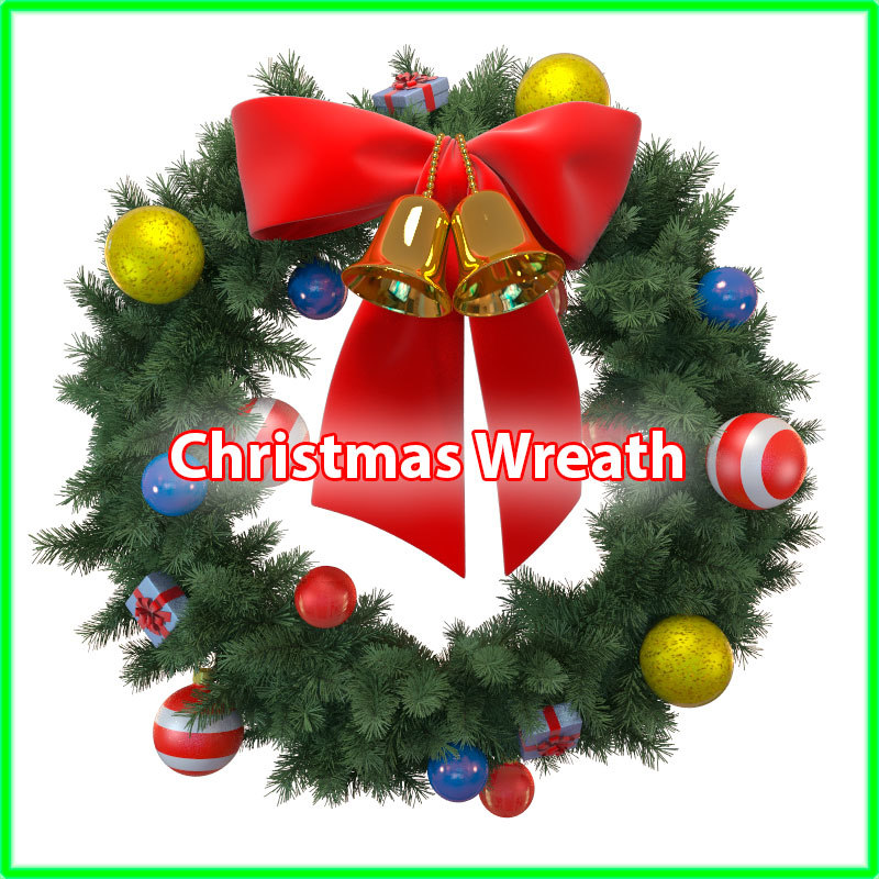 christmas wreath 3d obj