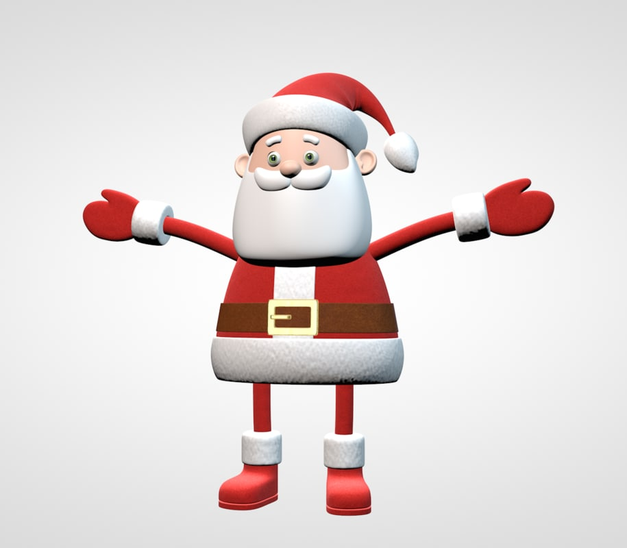 3d model cartoon santa claus