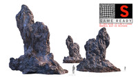 3d stone boulders scanned model