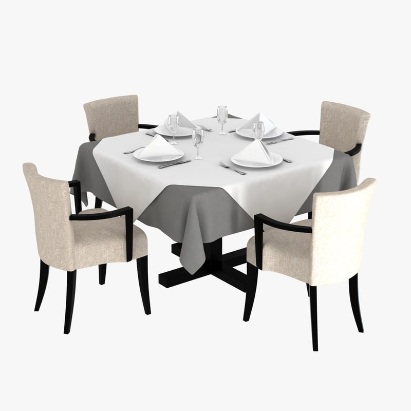 3ds max table chairs morgan