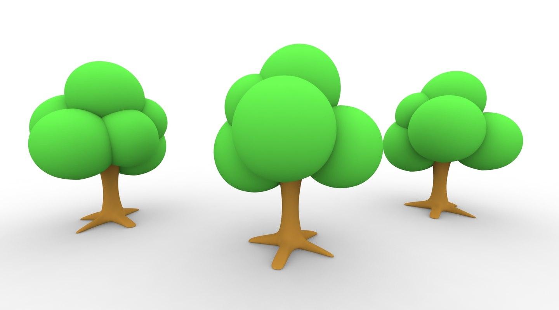 3d simple cartoon tree model