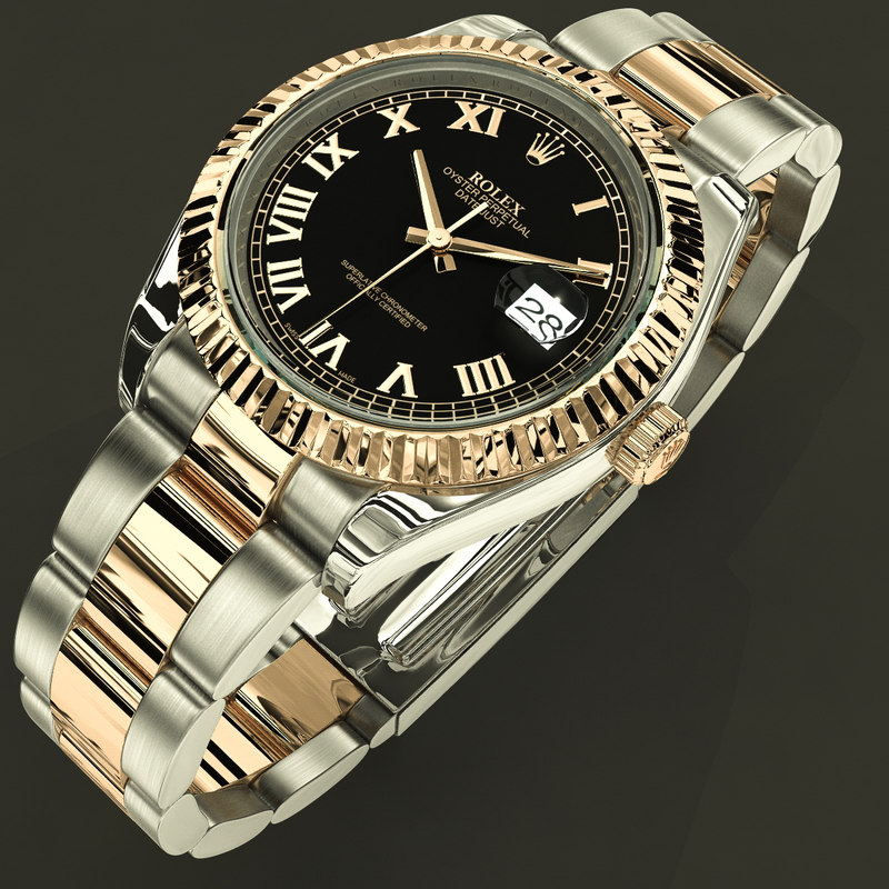 3d rolex datejust ii black model