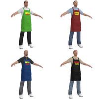supermarket worker man 3d max