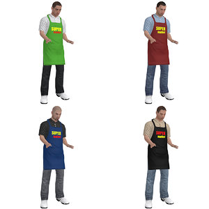pack rigged supermarket worker 3d max