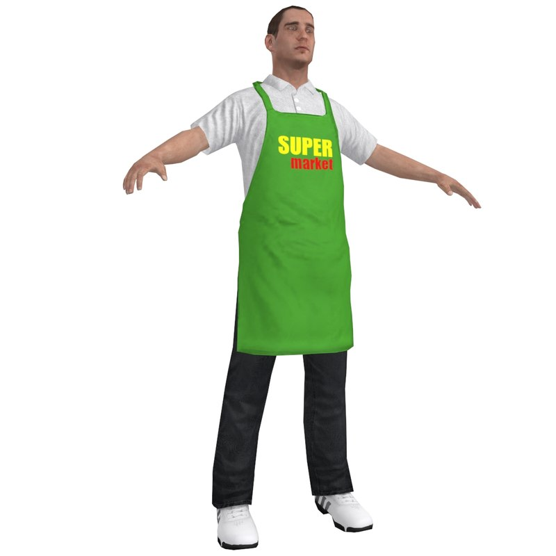 3d supermarket worker 1 man model
