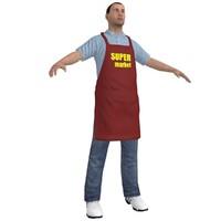 supermarket worker 2 man 3d model