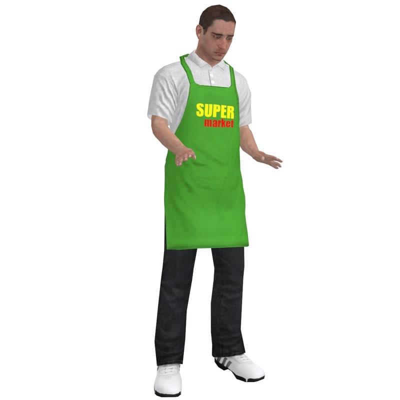 rigged supermarket worker 1 3d model