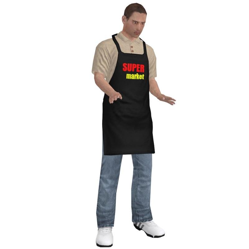 rigged supermarket worker man 3d model