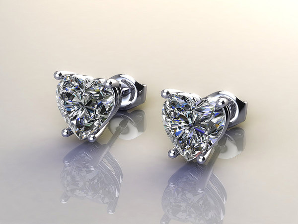 earrings diamond ring 3d model