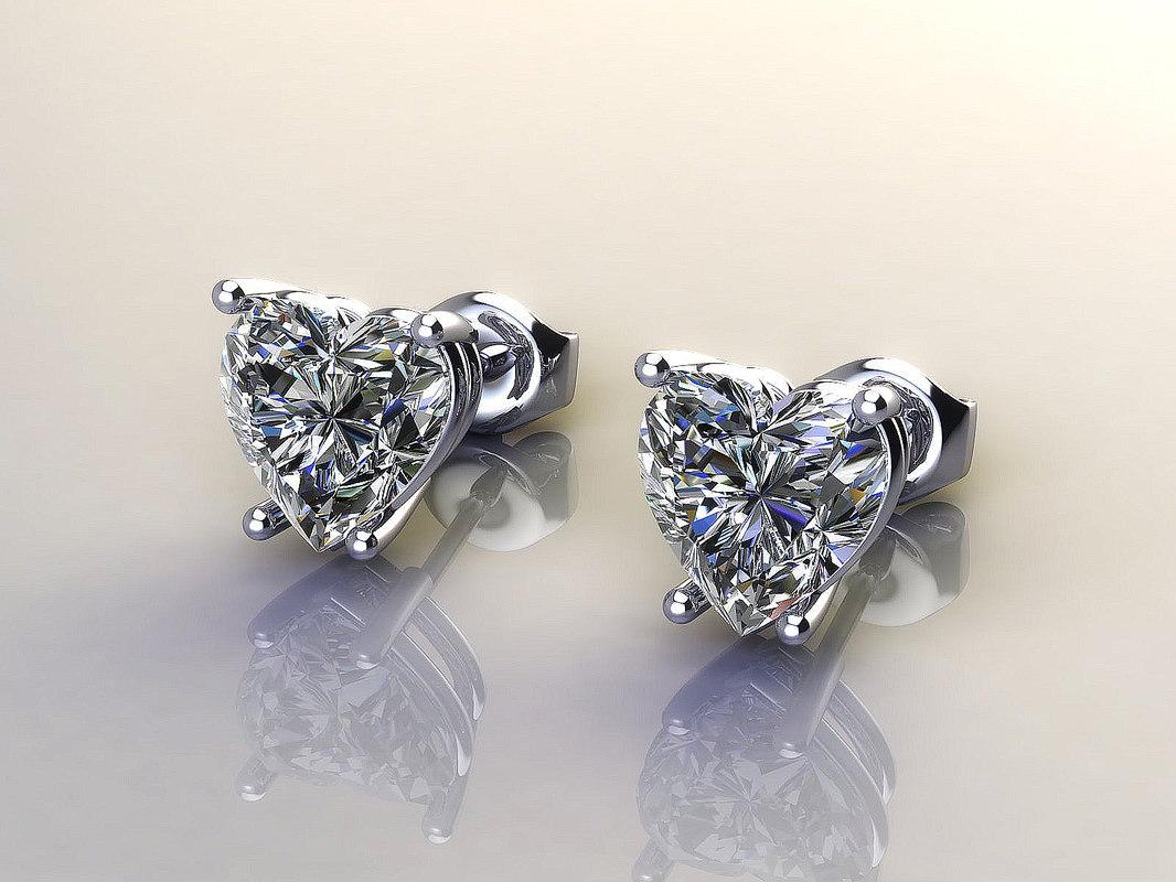 earrings diamond ring 3d model