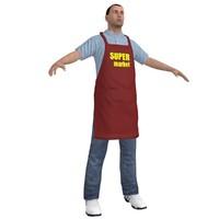 3d supermarket worker 2 man