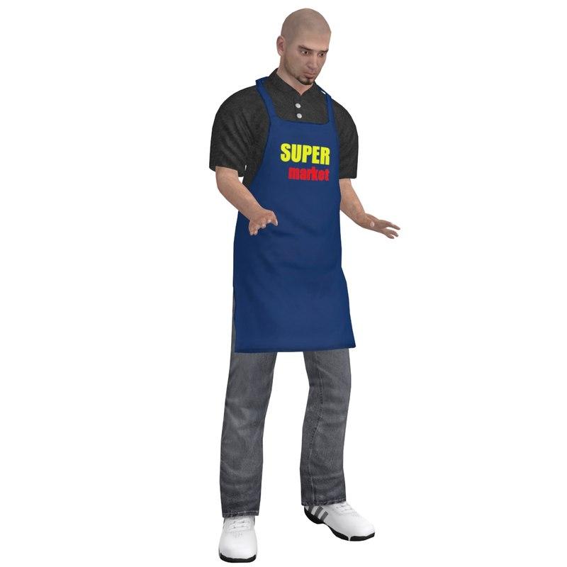3d rigged supermarket worker man model