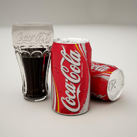 Coca Cola can and glass