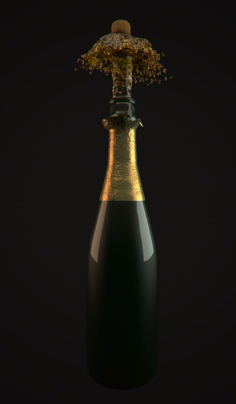 wine bottle cork pop 3d max
