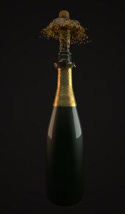 wine bottle cork pop 3d max