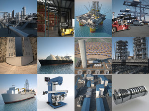 3d model industrial refinery port