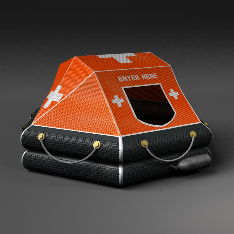 inflatable life raft 3d obj