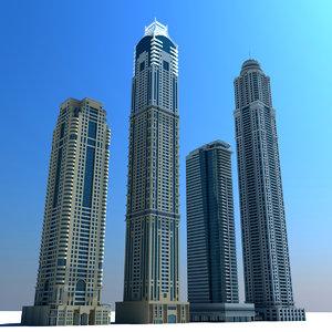 dubai marina towers 02 3d max