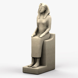 3d model egyptian female sculpture