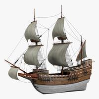 sailing ship mayflower 3d model
