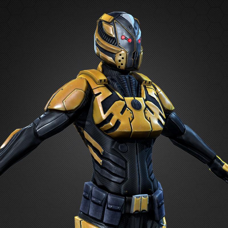 3d model of sci-fi armor female 1