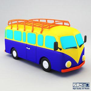 retro bus 3d model