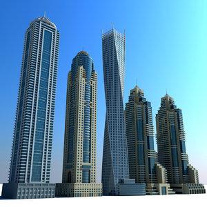 3d model dubai marina towers 03