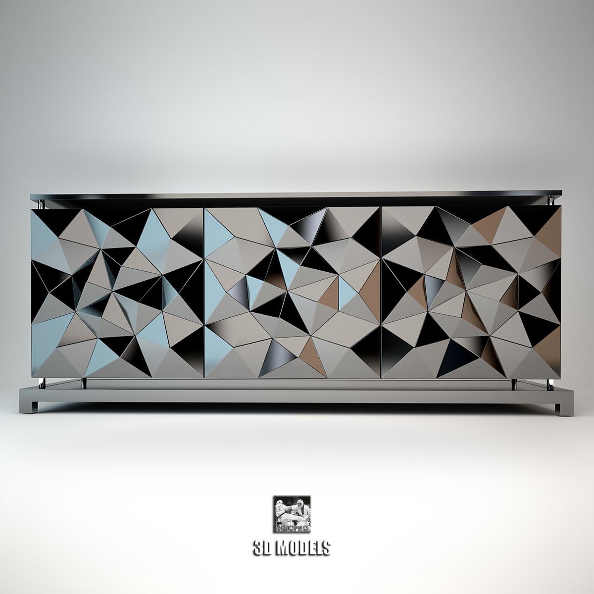 3d model fendi madia cabinet