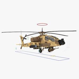 ah64a apache helicopter desert 3d model