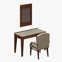 3d model of mirror table chair