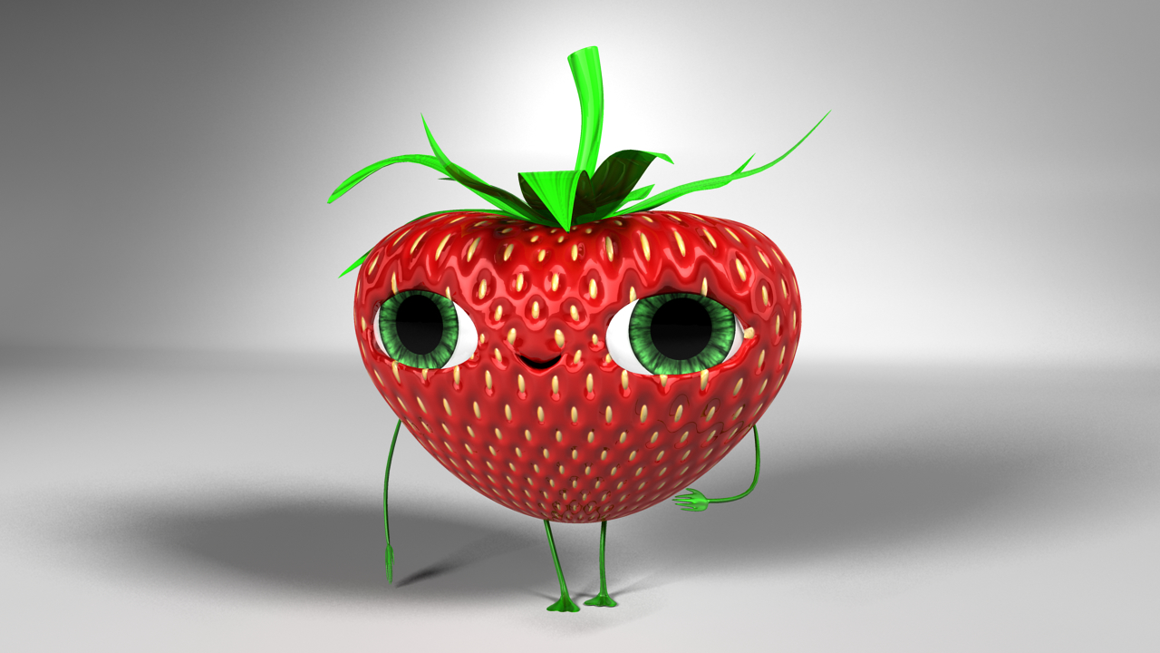 strawberry character rigged c4d
