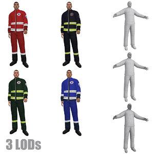 3d rigged paramedic lod s model