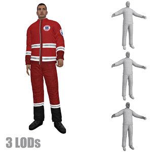 3d model rigged paramedic lod s