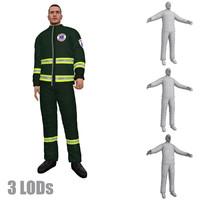 rigged paramedic 3 lod 3d max