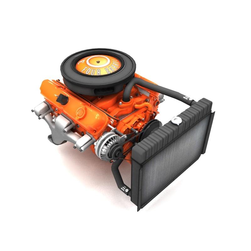 mopar 340 la engine 3d max