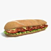 3d model of sub sandwich