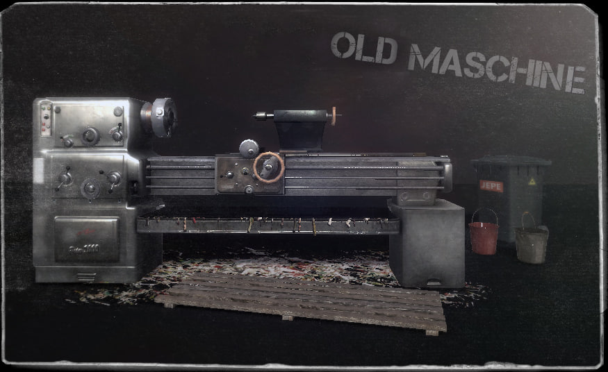 old lathe machine 3d lwo