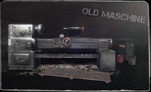old lathe machine 3d lwo