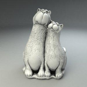 2 cats toy 3d model
