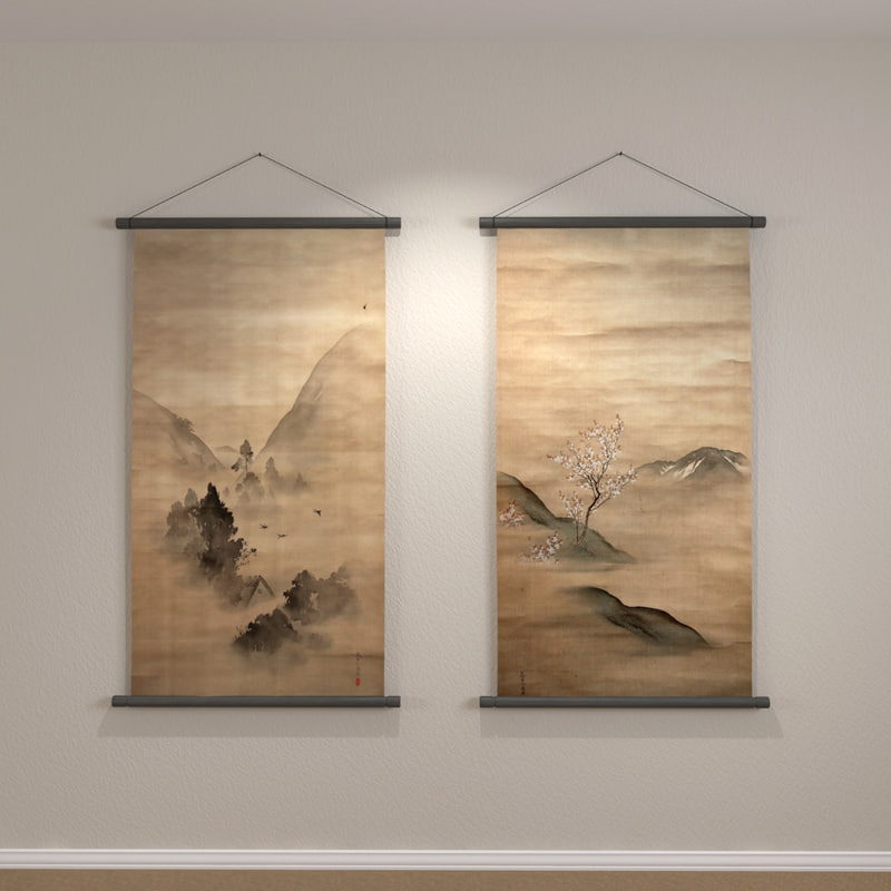 3d model of hanging wall scrolls
