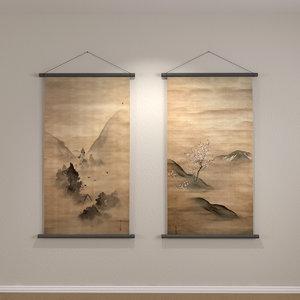 3d model of hanging wall scrolls