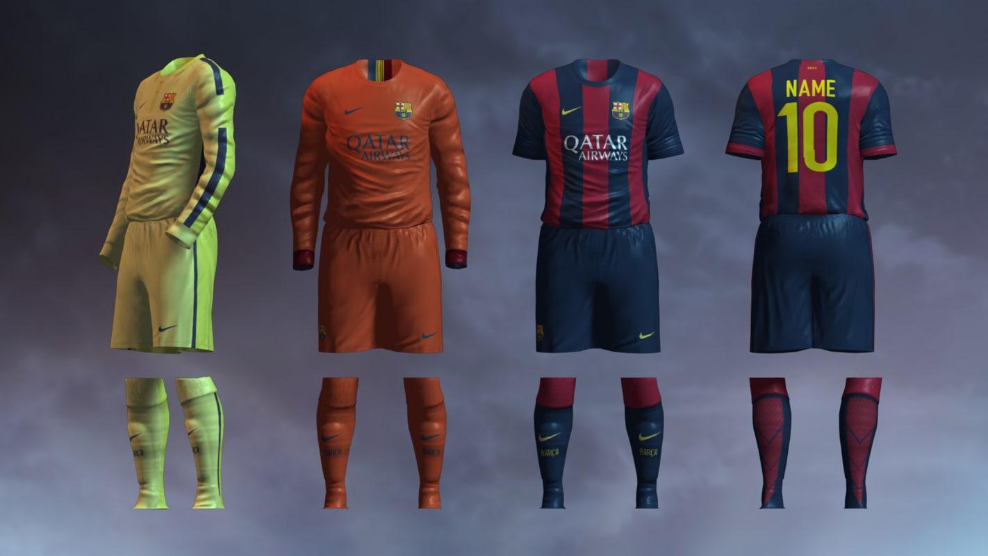0b6386c37 3d soccer jersey barcelona fc model