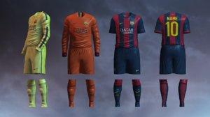 3d soccer jersey barcelona fc model